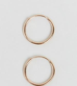 ASOS Серебряные серьги-кольца 9 мм с покрытием из розового золота. Цвет: медный