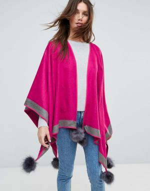 Jayley Двустороннее пончо с помпонами из кашемира и шелка. Цвет: розовый