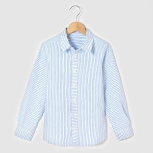Рубашка в полоску, 3-12 лет La Redoute Collections. Цвет: в полоску белый/синий