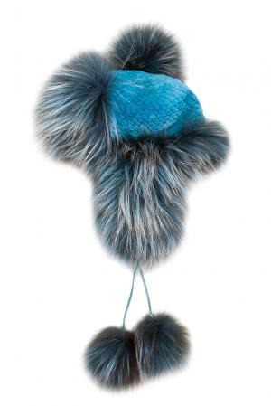 Головной убор из меха лисы и норки 139003 Igor Gulyaev. Цвет: синий