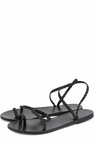 Сандалии Eleftheria из плетеной кожи Ancient Greek Sandals. Цвет: черный