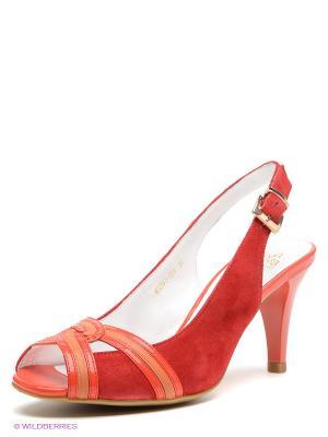 Босоножки Moda Donna. Цвет: красный, оранжевый