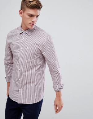 Jack Wills Темно-красная поплиновая рубашка классического кроя в полоску Wil. Цвет: красный
