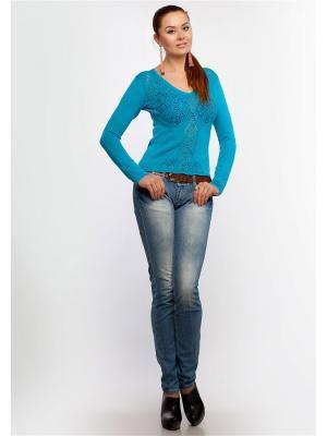 Пуловер Happychoice. Цвет: бирюзовый