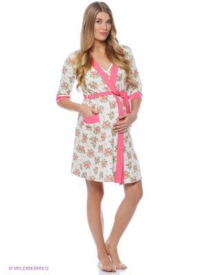 Комплект для беременных и кормления ( халат, ночная сорочка) 40 недель. Цвет: молочный, розовый