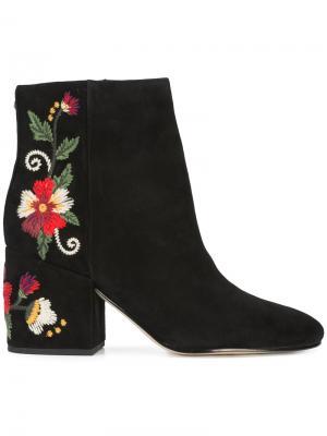 Ботинки по щиколотку с вышивкой Sam Edelman. Цвет: чёрный
