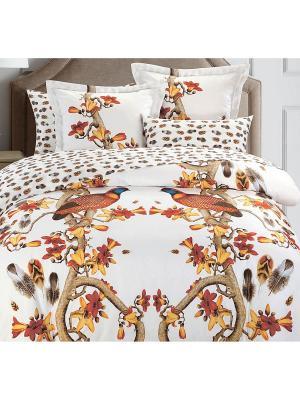 Комплект постельного белья 2сп (Pheasant) н(2)70*70 н(2)50х70 АА сатин панно Mona Liza. Цвет: белый