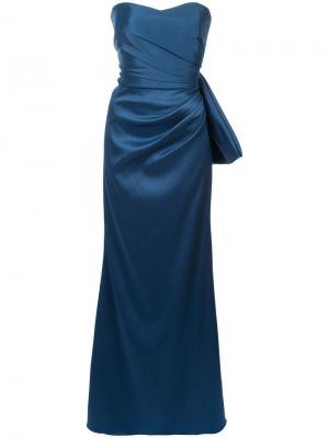 Draped strapless gown Badgley Mischka. Цвет: синий