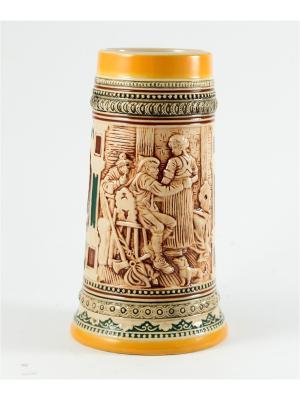 Пивная кружка коллекционная В таверне BURGER. Цвет: коричневый, оранжевый, темно-бежевый