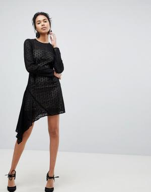 Keepsake Кружевное платье мини с асимметричным подолом Dreamers. Цвет: черный