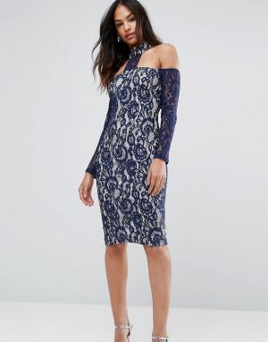 AX Paris Темно-синее платье миди с длинными рукавами. Цвет: мульти