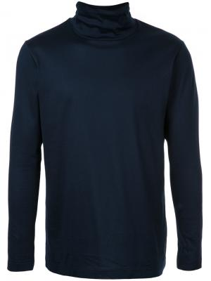 Классический свитер с отворотной горловиной Estnation. Цвет: синий