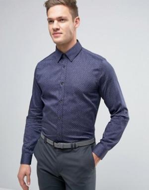 Ted Baker Узкая джинсовая рубашка в горошек. Цвет: темно-синий