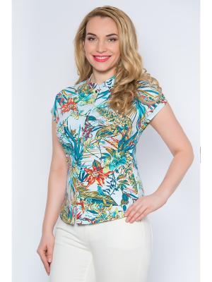 Блузка Begood. Цвет: белый, бирюзовый, зеленый