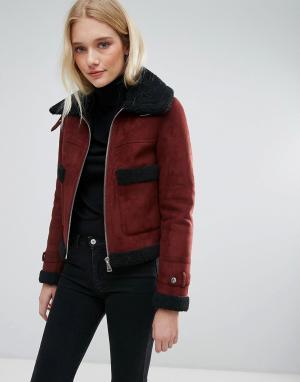 Urbancode Укороченное пальто с большими карманами. Цвет: красный