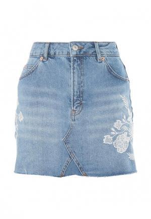 Юбка джинсовая Topshop. Цвет: голубой