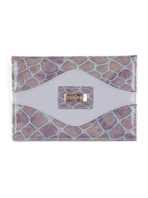 Обложка для паспорта с карманом Zinger. Цвет: лиловый