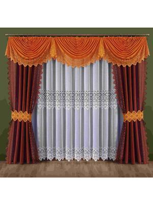 Комплект штор Wisan. Цвет: оранжевый, белый, бордовый