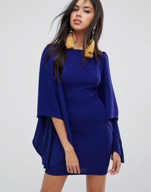 AX Paris Платье с длинными рукавами и оборками. Цвет: синий