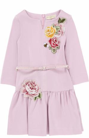 Трикотажное мини-платье с аппликациями Monnalisa. Цвет: розовый