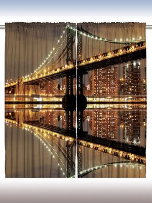 Комплект фотоштор Оттенки полуночи, 290*265 см Magic Lady. Цвет: коричневый