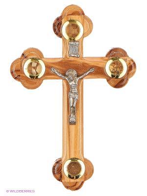 Крест с распятием Bethlehem Star. Цвет: светло-коричневый