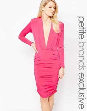 John Zack Petite Платье миди с длинными рукавами и глубоким вырезом. Цвет: розовый