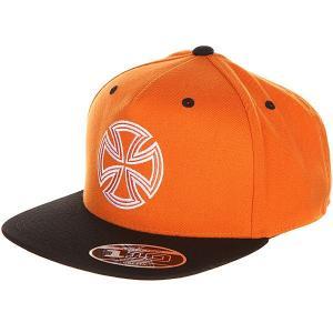 Бейсболка с прямым козырьком  One Ten Snapback Orange/Black Independent. Цвет: оранжевый,черный
