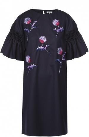 Платье прямого кроя с цветочной вышивкой и коротким рукавом Kenzo. Цвет: темно-синий