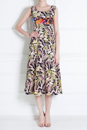 Шелковое платье Duro Olowu. Цвет: белый, черный, зеленый, розовый
