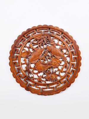 Резное панно на стену DSL  АР9478-2 цвет коричневый Da Sent Lin ARTS. Цвет: коричневый