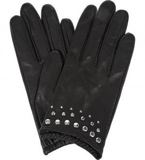 Кожаные перчатки с металлическим декором ELEGANZZA. Цвет: черный