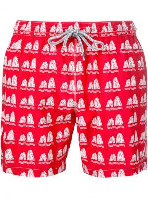 Пляжные шорты с принтом Capricode. Цвет: красный
