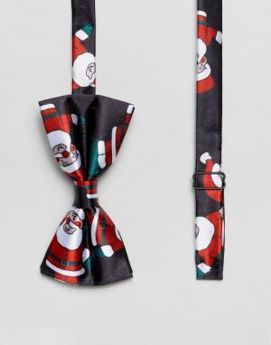 7X Галстук-бабочка с новогодним принтом Санта-Клауса. Цвет: синий