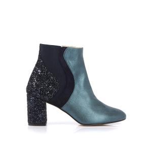 Ботильоны кожаные с блестящей отделкой,  Cecile MELLOW YELLOW. Цвет: зеленый + темно-синий