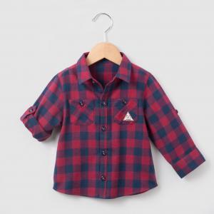 Рубашка в клетку 1 мес-3 лет R mini. Цвет: в клетку красный/ синий