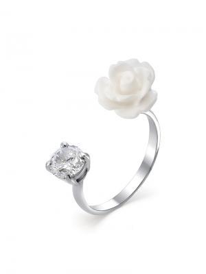 Кольцо разъемное Роза KU&KU. Цвет: белый, светло-голубой, серебристый
