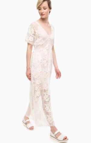 Кружевное платье со съемной подкладкой POIS. Цвет: молочный