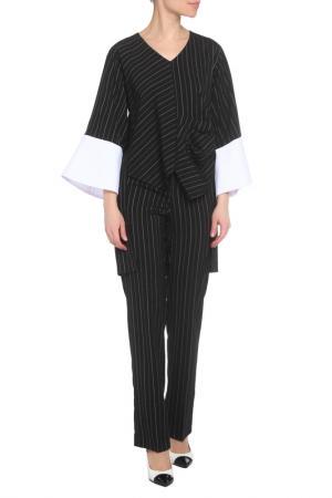 Костюм: блуза, брюки Adzhedo. Цвет: черный, полоса