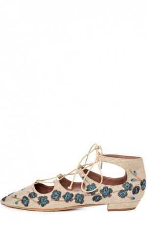 Текстильные балетки Magnolia с вышивкой Tabitha Simmons. Цвет: бежевый