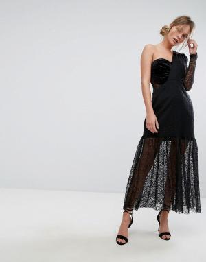 Three Floor Кружевное платье миди на одно плечо с плиссировкой. Цвет: черный