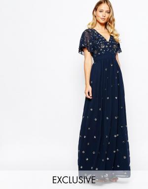 Frock and Frill Платье с запахом спереди и расклешенными рукавами. Цвет: темно-синий