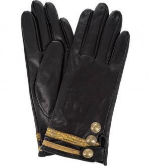 Кожаные перчатки с декоративной отделкой Scotch&Soda. Цвет: черный