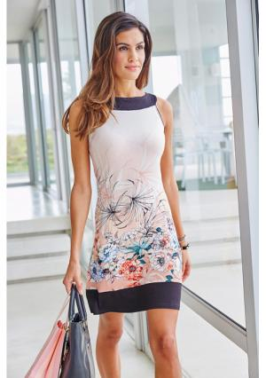 Платье-футляр VIVANCE. Цвет: абрикосовый/голубой/светло-зеленый/цвет белой шерсти с рисунком