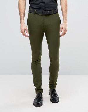 ASOS Супероблегающие брюки цвета хаки в строгом стиле. Цвет: зеленый