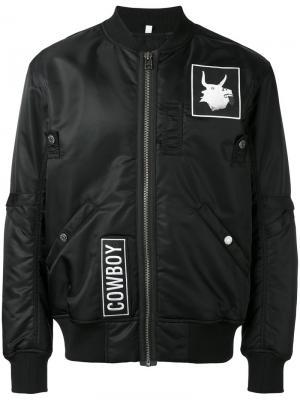 Куртка-бомбер с заплатками Helmut Lang. Цвет: чёрный