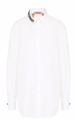 Хлопковая блуза с декорированным воротником No. 21. Цвет: белый