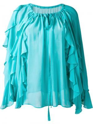 Блузка с рюшами DressCamp. Цвет: зелёный