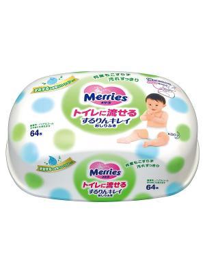 Детские влажные салфетки Flushable, Пластиковый контейнер, 64шт MERRIES. Цвет: белый