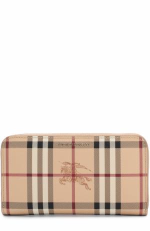 Текстильный кошелек в клетку на молнии Burberry. Цвет: бежевый
